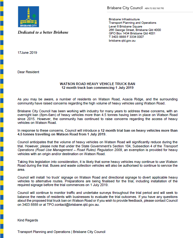 Watson Road Heavy Vehicle Truck Ban letter to residents 170619