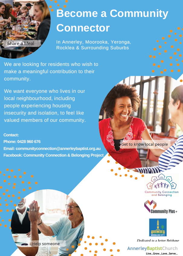 Community connection and belonging flyer