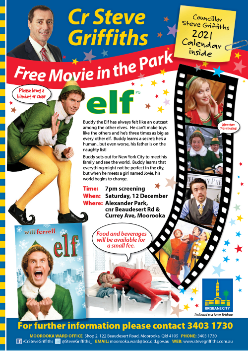 Elf movie in Alexander Park in December 500x707