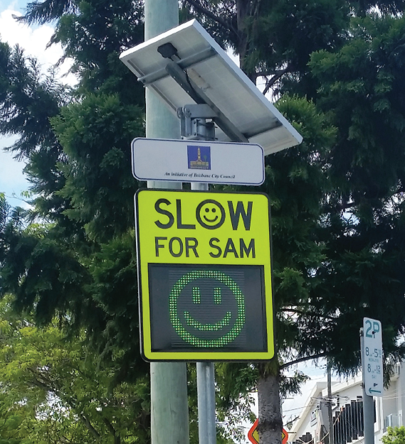 Portable Speed Warning Signs Slow for SAM signage